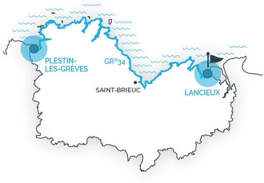 Tracé du GR34 en Côtes d'Armor