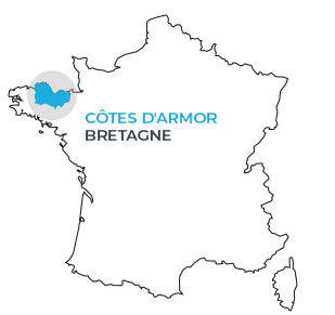 Carte de situation des Côtes d'Armor en France